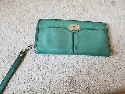 Fossil Green Leather Passport Airline Ticket Credit Card Holder Wallet Wristlet  Airline Ticket Wallet