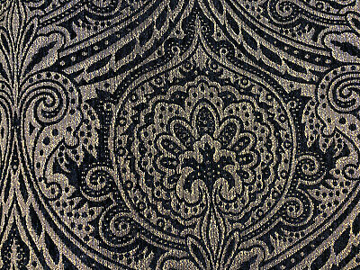 Black And Gold Fabric (Medellin Damask Black Gold Upholstery Fabric By The)