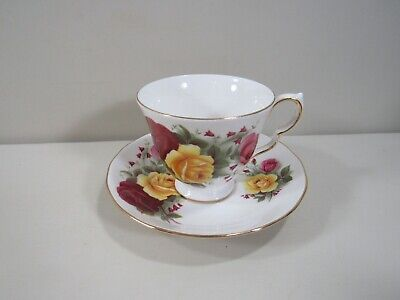 Queen Anne Bone China Cup and Saucer with Red, Pink and Yellow Roses Pink Bone China