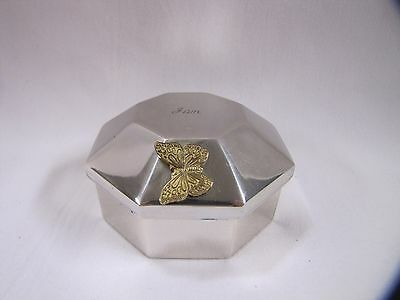 Sterling Silver Box Etched Gold Butterfly Octagon Spain Trinket Box