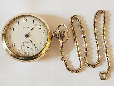 Antique Working 1908 ELGIN Victorian Gold G.F. Gents Pocket Watch 18s with Chain