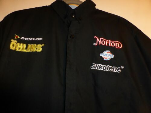 XL Rare NORTON England Motorcycles button ss Shirt Embroidered Dunlop Olins WOW