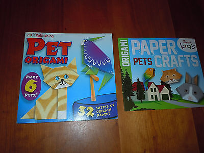 2 Books Pet Origami & 32 Sheets Paper Pets Animals Childrens Kids Crafts NEW