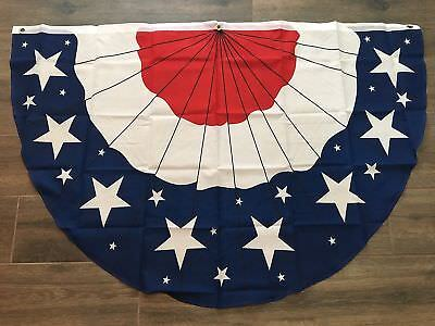 BUNTING STARS AND STRIPES FLAG RED WHITE BLUE INDOOR OUTDOOR BANNER 3'X5' USA (Red White And Blue Bunting)