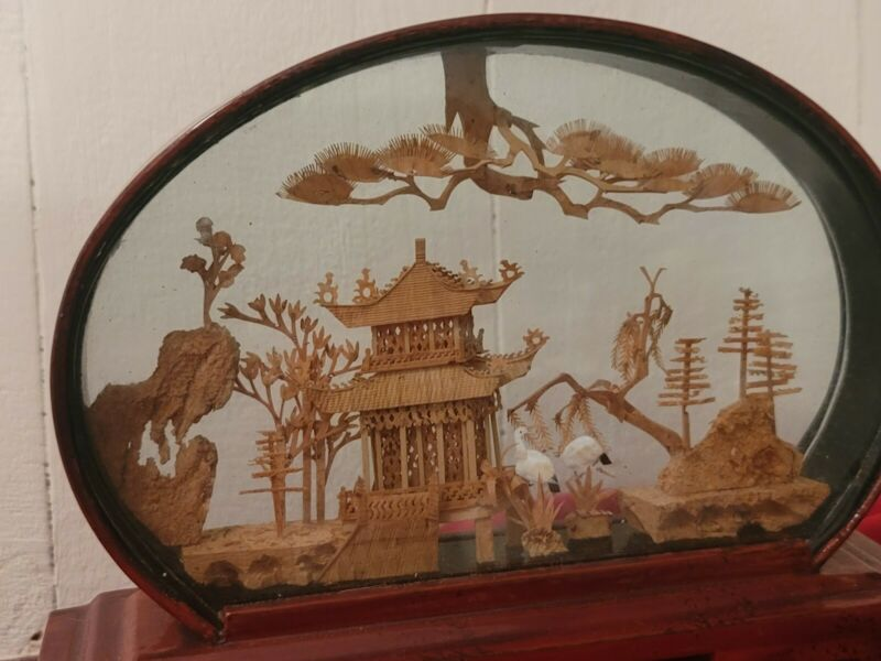 Framed  Chinese Cork Sculpture Diorama 8 x 6 inch Oval Crane Pagoda scenery