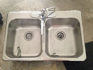 Stainless steal sink with faucet