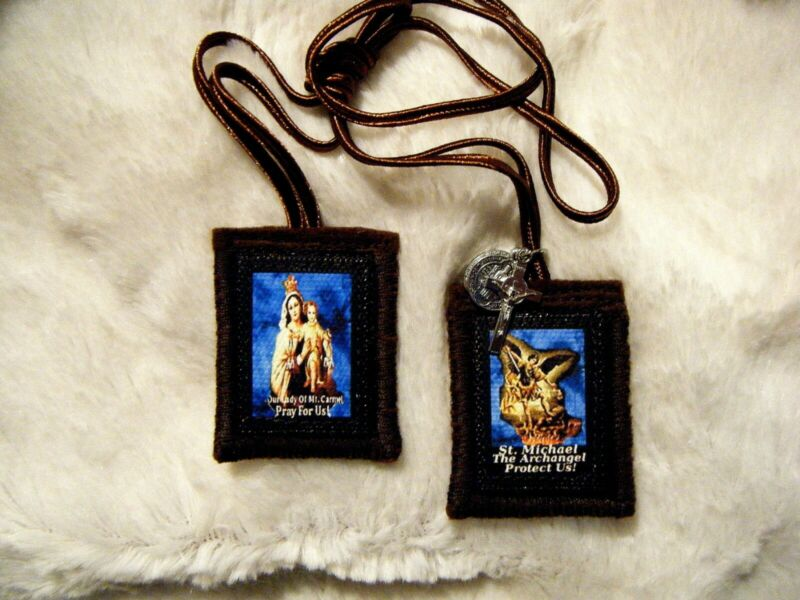 St. Michael The Archangel Brown Scapular 100% Wool Handmade in USA