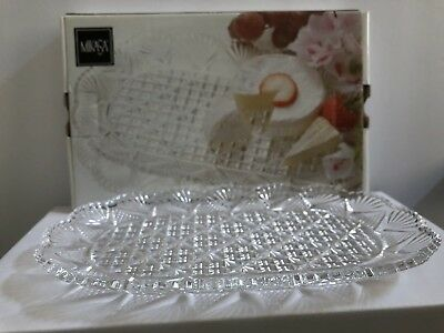 "Mikasa Crystal Dessert Tray 10 1/2"" NWB"