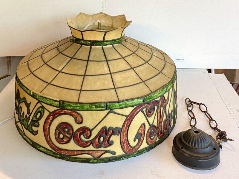 Vintage 1960-1970 Coca Cola Coke Tiffany Style Plastic Hanging Lamp Light