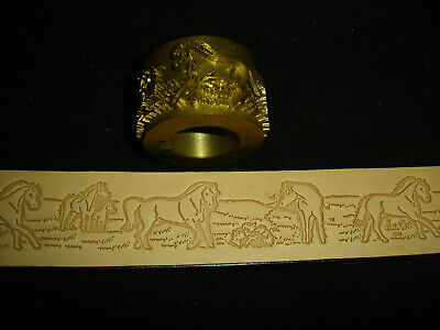 Leather Embossing Machine Roll Horses in Pasture pattern Solid Brass