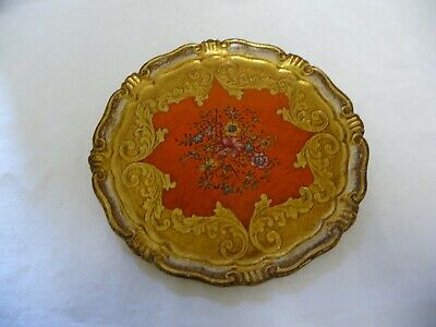 Vintage Italian Florentine Tray Red & Gold  Hand Painted Flowers Diam.11