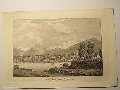 Montblanc von Genf aus - Alter Druck um 1820/30 / Stammbuchblatt
