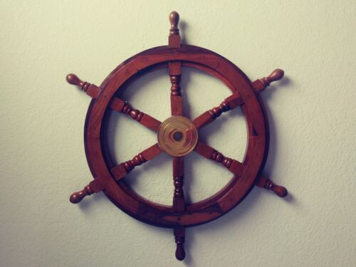 """24"""" Wood / Brass Ship Wheel Large Boat Captain Steering Helm Nautical Wall Decor"""
