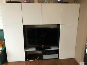 Ikea Besta cabinetry (assembled, 5 piece unit)