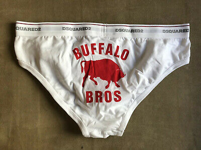 DSQUARED 2 RARE STRETCH WHITE COTTON SIGNATURE BUFFALO BROS BRIEF UNDERWEAR L