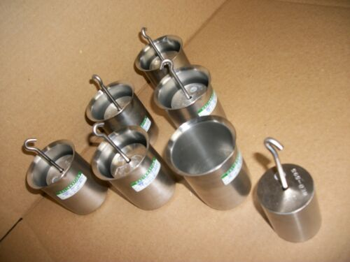 LOT OF 6 RICE LAKE 1-KG HOOK STAINLESS  CALIBRATION WEIGHT W/ POLAR WARE CUPS