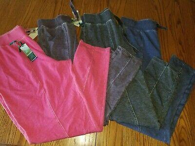 Nwt Womens Green Tea Mineral Wash Front Seam Pants Sweats Gray Pink Plum Blue