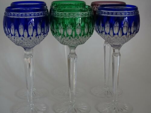 SIX WINE GLASSES AJKA HUNGARY CRYSTAL COLORED BLUE GREEN PATERN CLARENDON