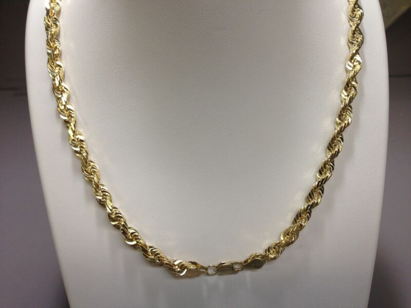 "14kt Solid Gold Diamond Cut Rope Chain Necklace 28"" 4 Mm 35 Grams"