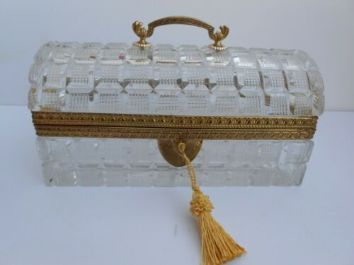 """Baccarat French Cut Crystal Jewelry Casket Box Gilt Bronze handle dome Rare 8"""""""