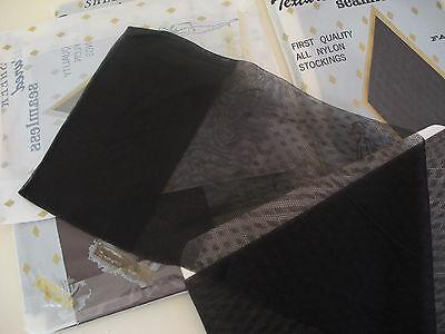 2 pr Vintage SHEER Textured Seamless NYLON STOCKINGS Sz 9 1/2 Off Black NIP