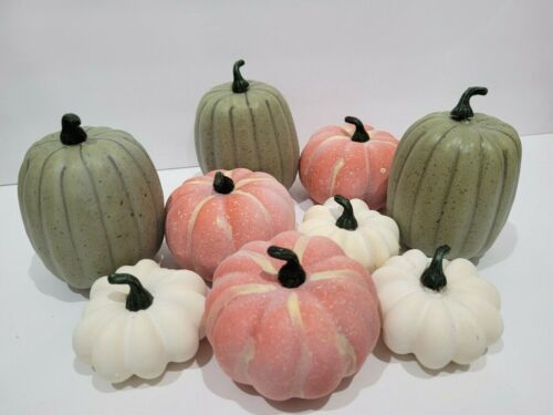 9pc Thanksgiving Fall Pumpkin Gourds Bowl Fillers Wreaths Tabletop Decor