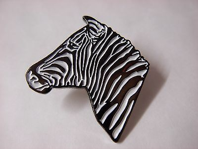 Zebra head Collectable pin badge. Lovely lapel badge. Black and white