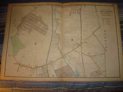 For sale HUGE 1906 ANTIQUE WOBURN MASSACHUSETTS HANDCOLORED MAP WARD 4 & 5 NAMED OWNERS N