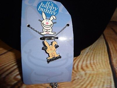 """Jim Benton Happy Bunny Charm Pendant Necklace """"Your'e So Dumb"""" Pale Pink"""
