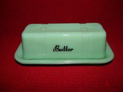1/4lb Stick Butter Dish Jade Glass Criss Cross Pattern 2pc New