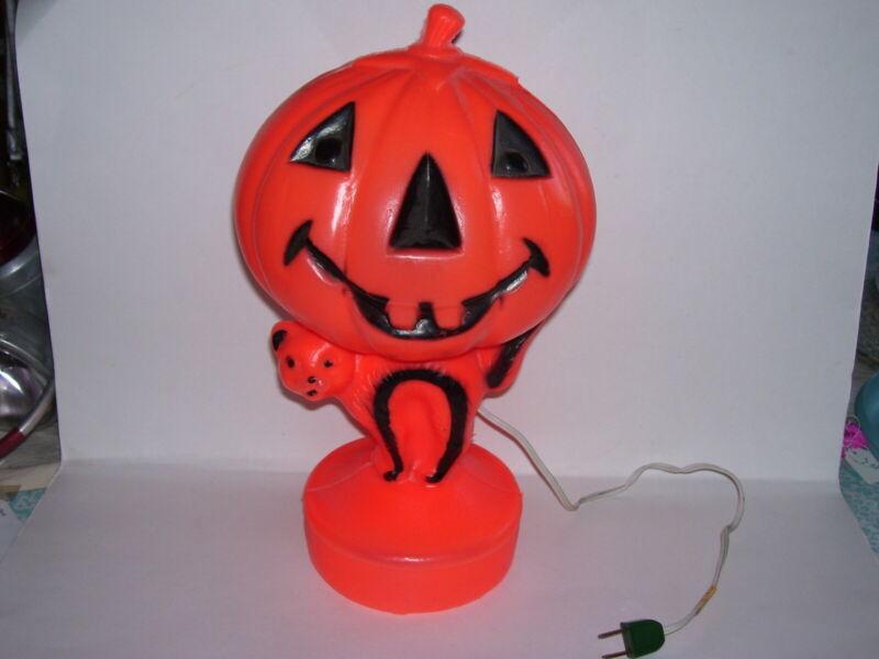 Vintage Halloween Cat Pumpkin Blow Mold Light