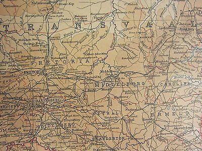 1921 LARGE MAP ~ AFRICA CAPE PROVINCE TRANSVAAL EASTERN PORT ELIZABETH DURBAN