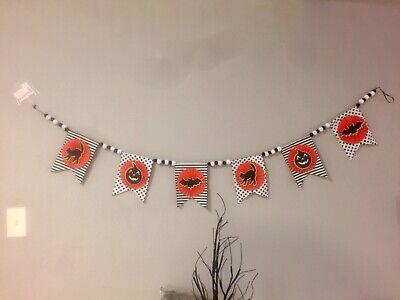 Halloween Retro 6 Ft Garland Banner Black Cats Bats & Jack O Lanterns Felt Wool