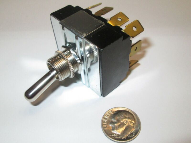 """CARLING  TOGGLE SWITCH  4PDT ON - ON   1/4"""" QC TERMS.  NEW, OLD STOCK"""