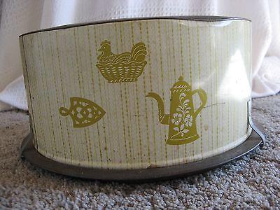 1950s Decoware Tin cake carrier- Old kitchen motif: Hen Coffee Pro Trivet
