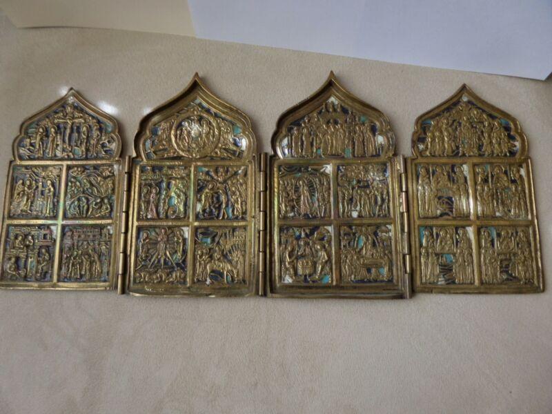 Russian Orthodox 19th Cent Brass 4-Panel Folding Skladen Travel Icon -
