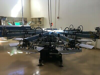 2005 M And R Sportsman 10 Station 8 Color Automatic Screen Printing Press