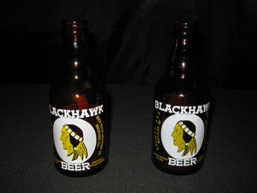 Set 2 vtg Blackhawk Beer Little Chief 8 oz Bottle Rockford IL Rock River Brewing