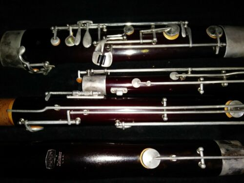 Vintage Bundy Selmer bassoon brown with crutch and case