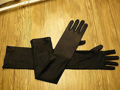 Lange Nylon Handschuhe Schwarz (SCHWARZ Sexy lange Satin Damen Handschuhe Stulpen * Gothic, Fasching, Hexen)