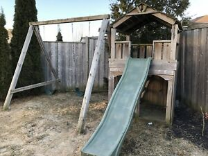 Playset slide and swing