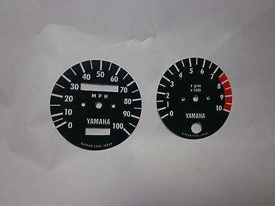 1972, 1973 Yamaha enduro dt2, dt3 250 tachometer and speedometer face plates for sale  Aliso Viejo