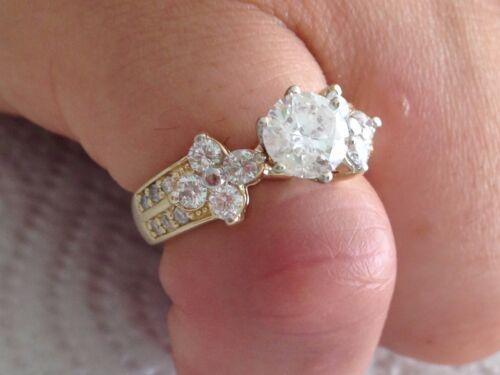 2.00 Ct Round Cut Designer Diamond Engagement Ring 14k Yellow Gold Certified