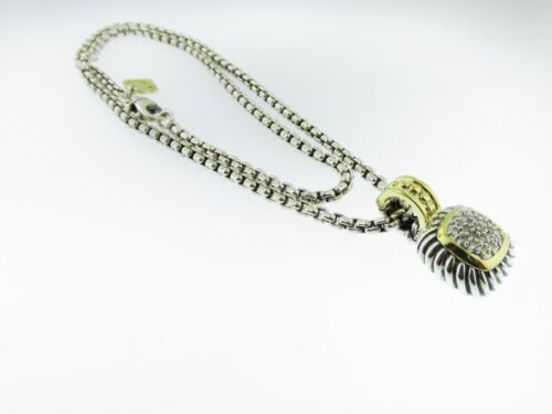 18k Yellow Gold Pave Diamond David Yurman Albion Pendant Necklace