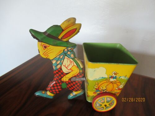 """Vintage J. Chein """"Easter Roost"""" Rabbit With Cart Tin Litho USA"""