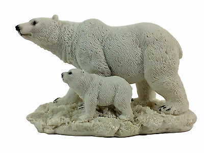 Polar Bear with Cub Poly-Resin Statue Figurine Home Decor
