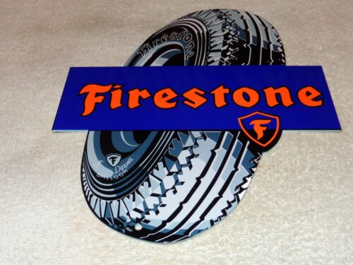 "VINTAGE FIRESTONE GUM DIPPED TIRES 12"" METAL TIRE GASOLINE & OIL SIGN PUMP PLATE"