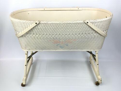 Vintage Woven Hawkeye Quality Baskenette Burlington Basket Bassinet Wood Wheels