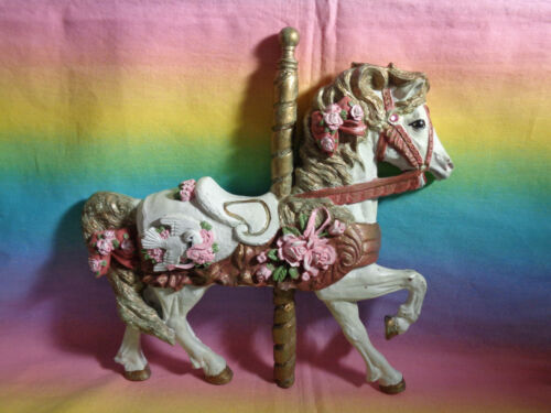 Vintage Hand-Painted Resin Carousel Horse Wall Plaque - as is