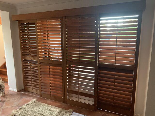 Plantation shutters - Western red cedar 4 sliding doors ...